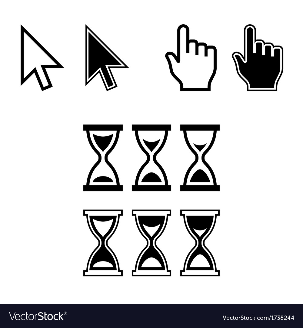 Cursor Icons Mouse Pointer Set vector image