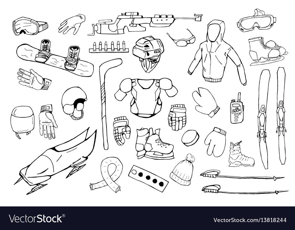 Hand drawn winter sports equipment set vector image
