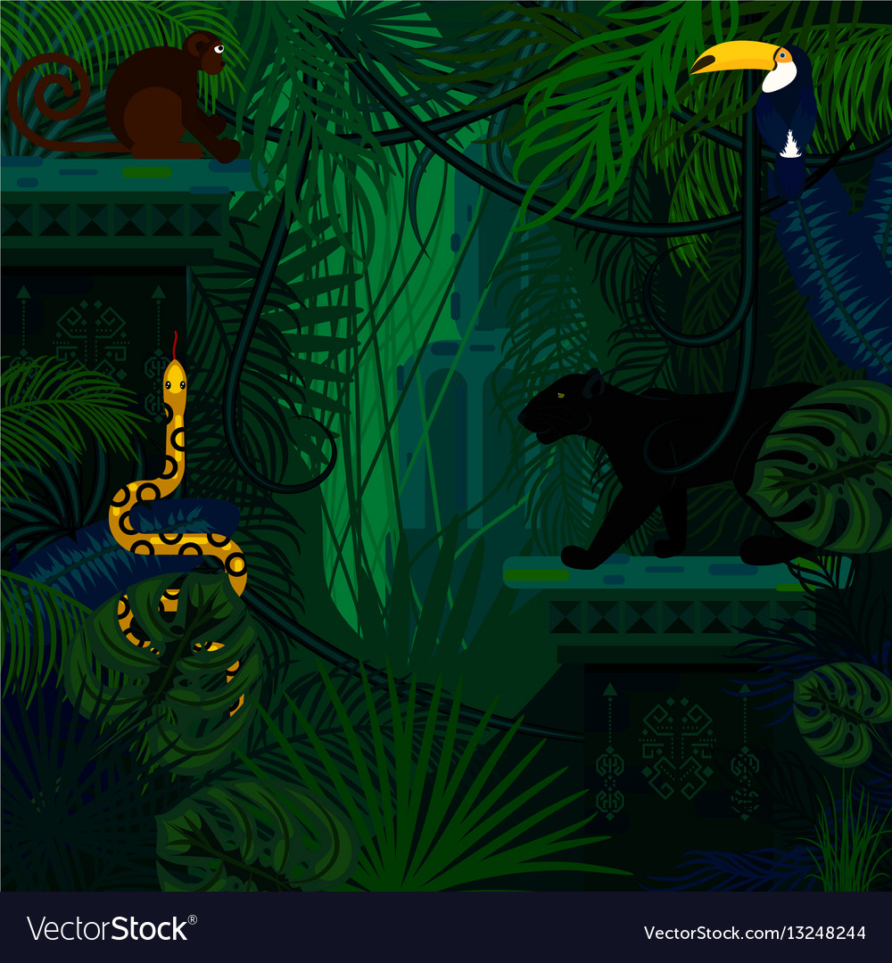 Rainforest wild animals and plants vector image