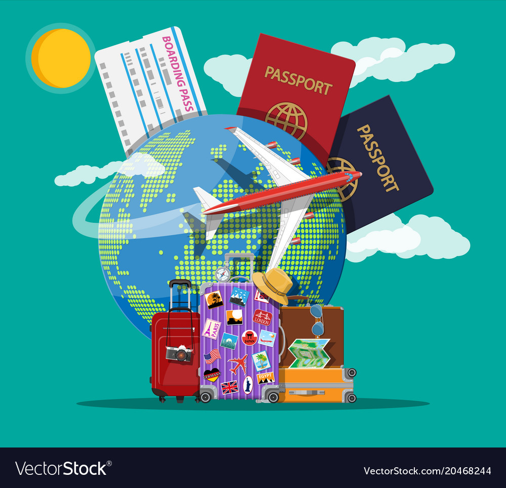 Travel suitcase with stickers and world map vector image gumiabroncs Choice Image