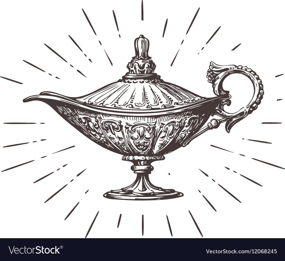 Aladdin magic or genie lamp Vintage sketch vector image