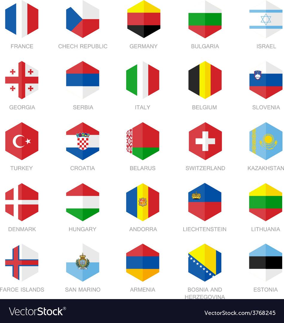Europe Flag Icons Hexagon Flat Design vector image