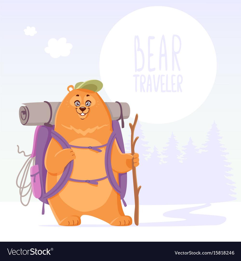 Bear traveler adventure vector image