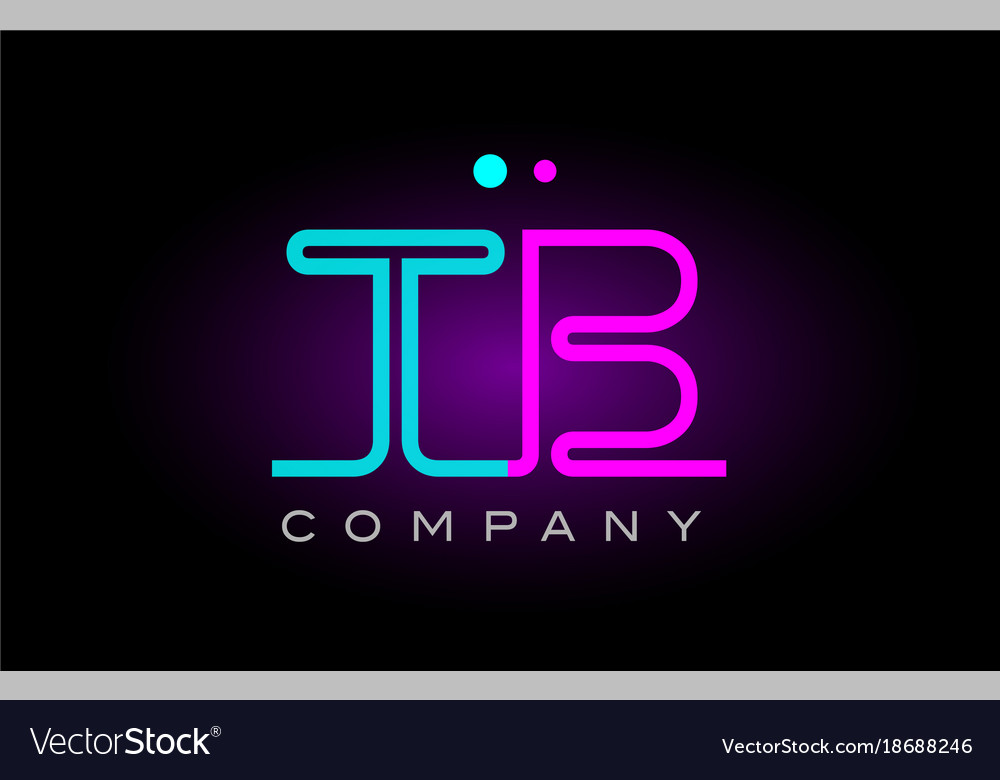 Neon lights alphabet tb t b letter logo icon vector image