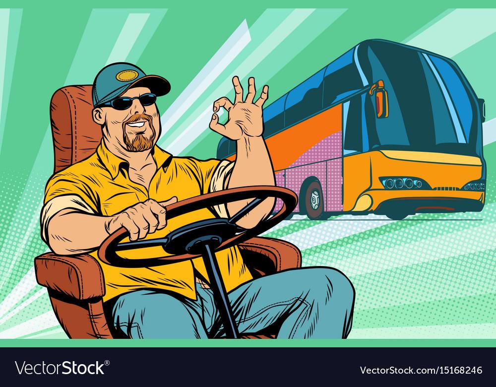 Okay tourist bus driver vector image