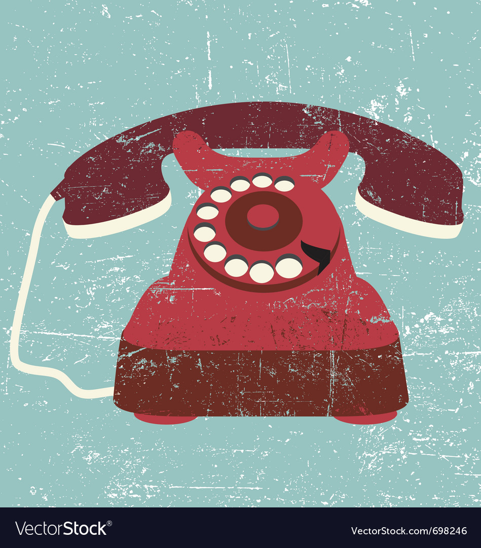 Vintage old retro black telephone vector image