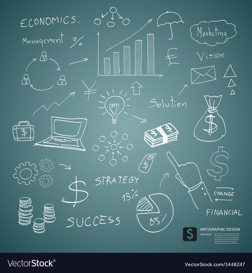 Drawing business plan concept on green board vector image
