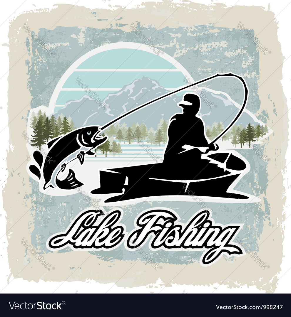 Lake fishing vector image