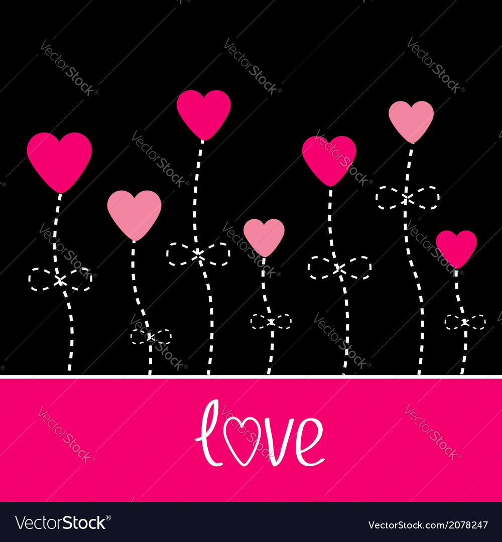 Love card Heart flowers Black and pink vector image