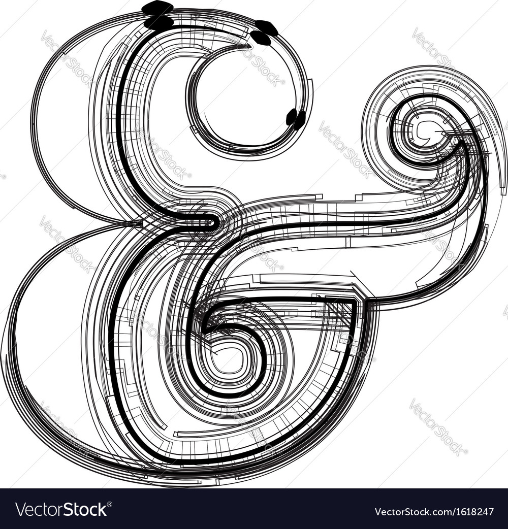 Technical typography symbol vector image