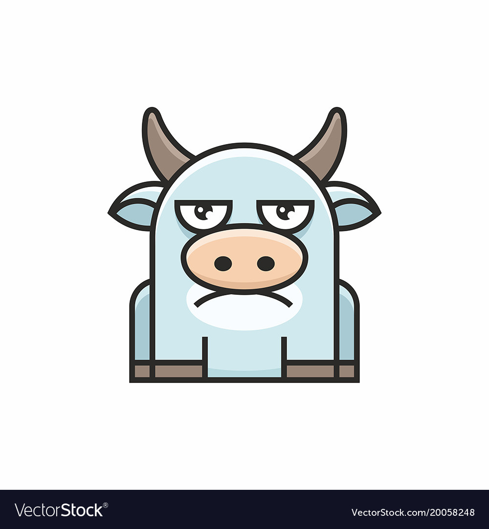 Cute cow icon on white background vector image