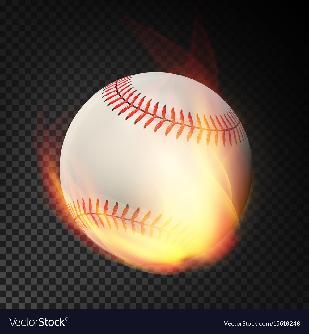 Flaming realistic baseball ball on fire flying vector image