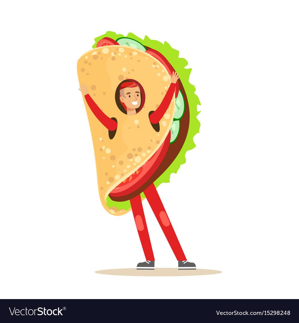 Man wearing mexican fajitas costume fast food vector image