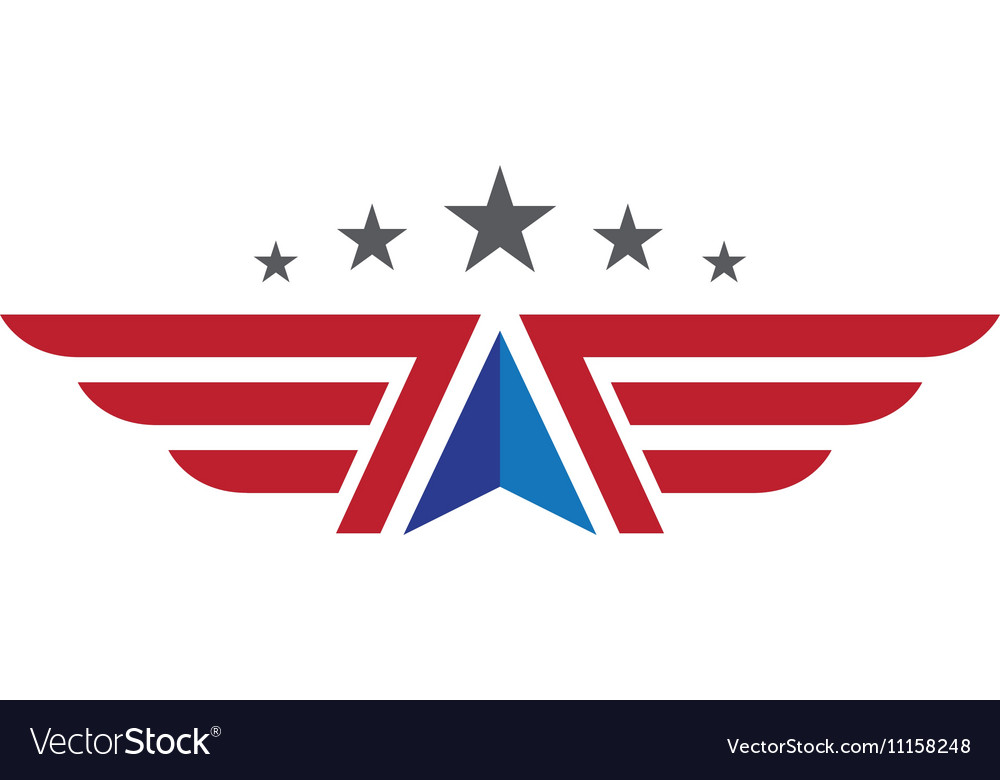 V Wing Logo Template vector image