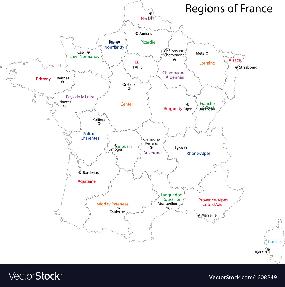 Contour France map Royalty Free Vector Image VectorStock