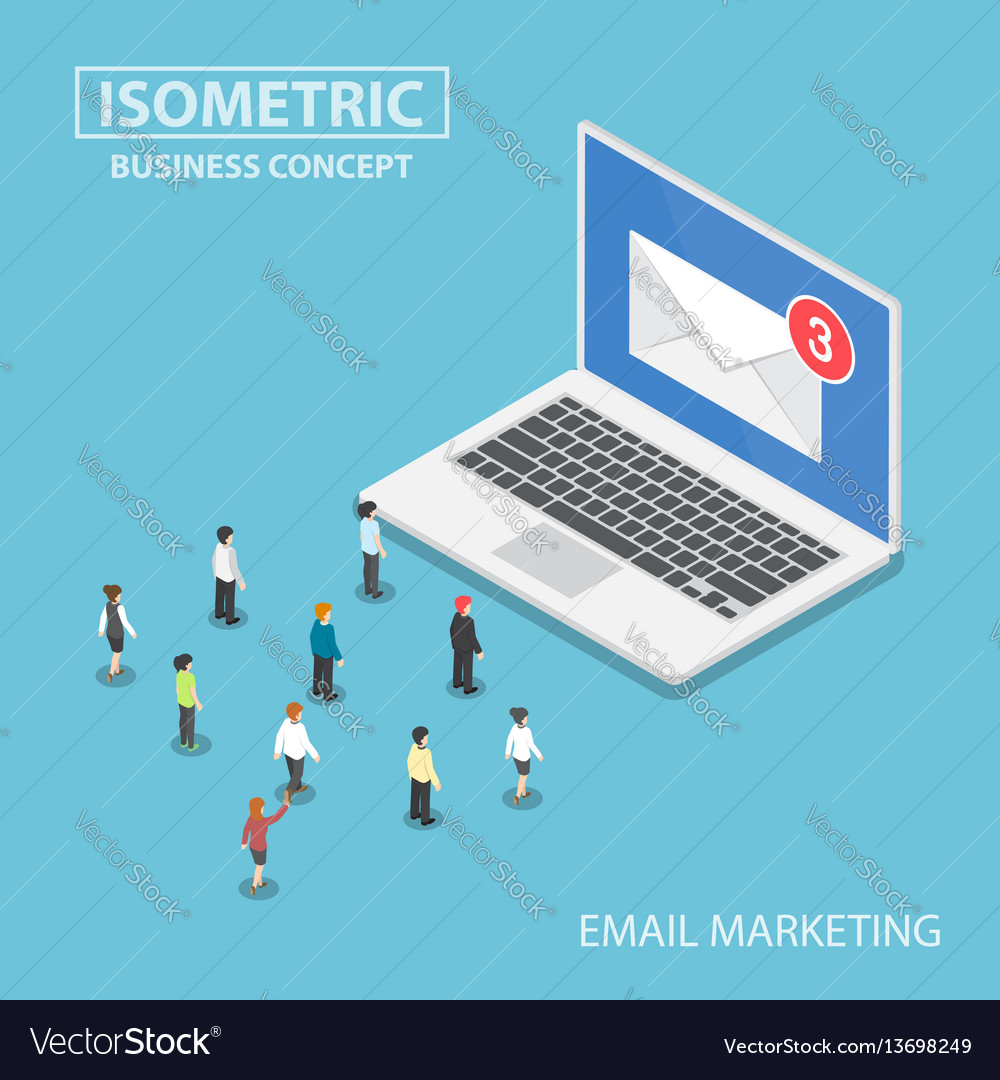 Isometric business people looking to new email vector image