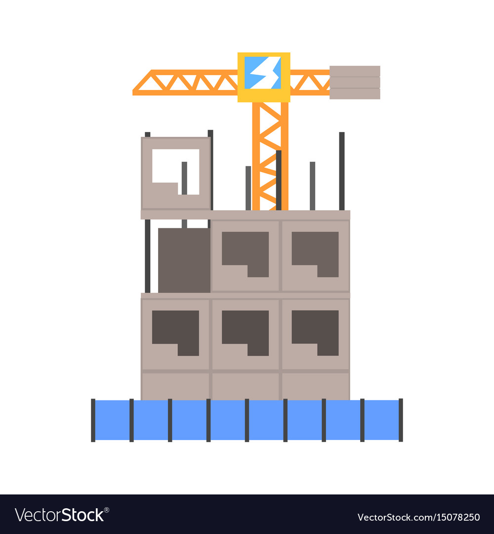 Process of construction of a multistory building vector image