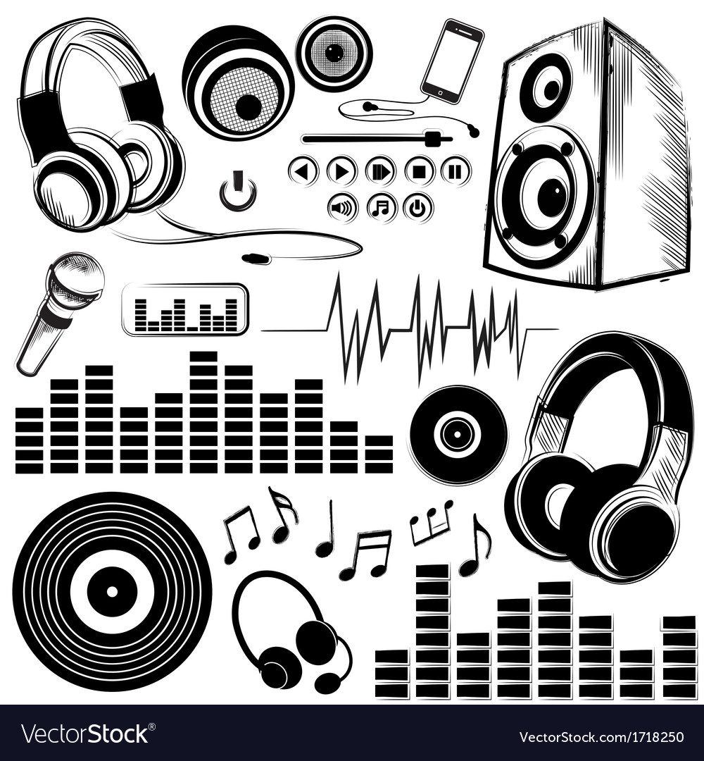 Set of sketchy music symbols and icons royalty free vector set of sketchy music symbols and icons vector image buycottarizona Gallery