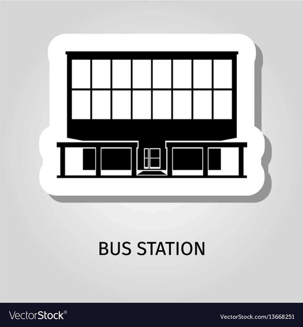 Bus station building web sticker vector image