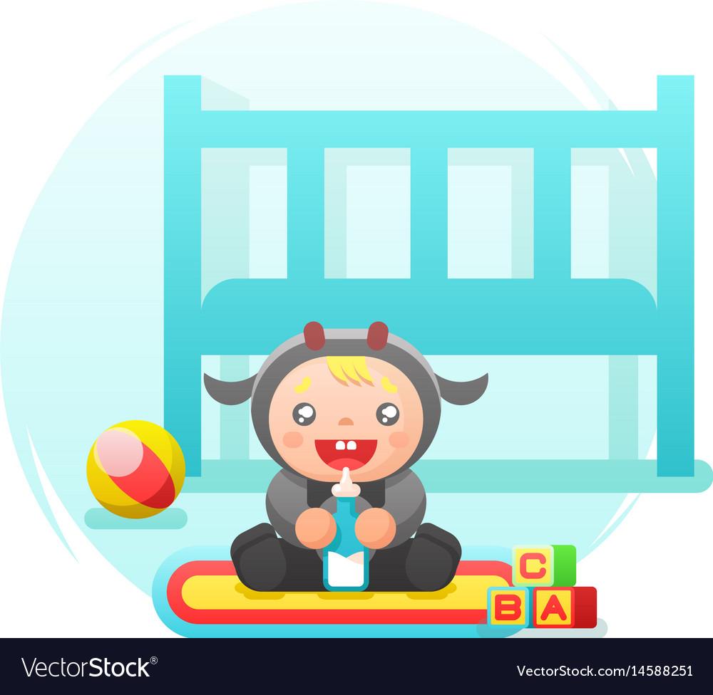Child drinking milk cow cute costume nursery flat vector image