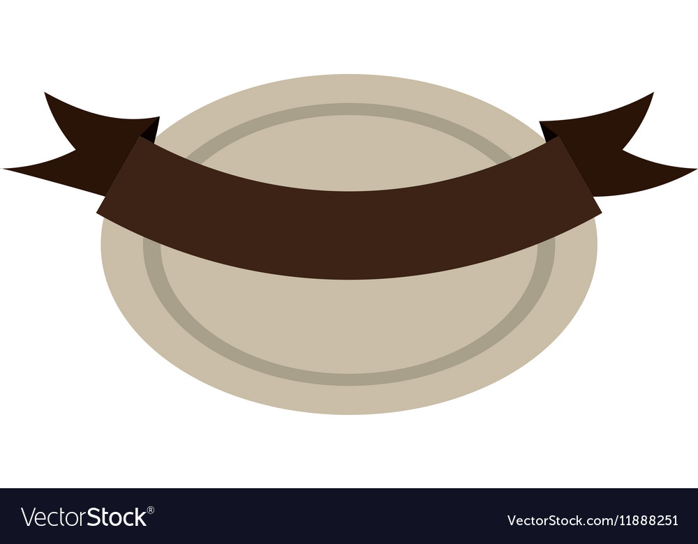 Oval shape seal stamp with brown label vector image