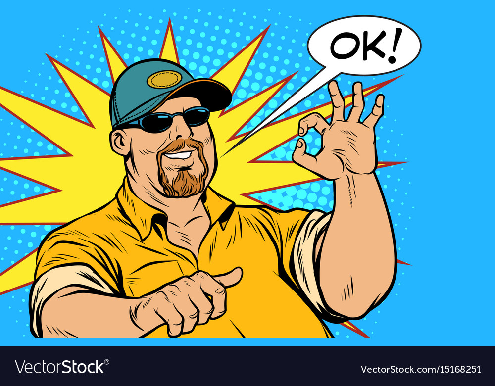The bearded male and gesture okay vector image