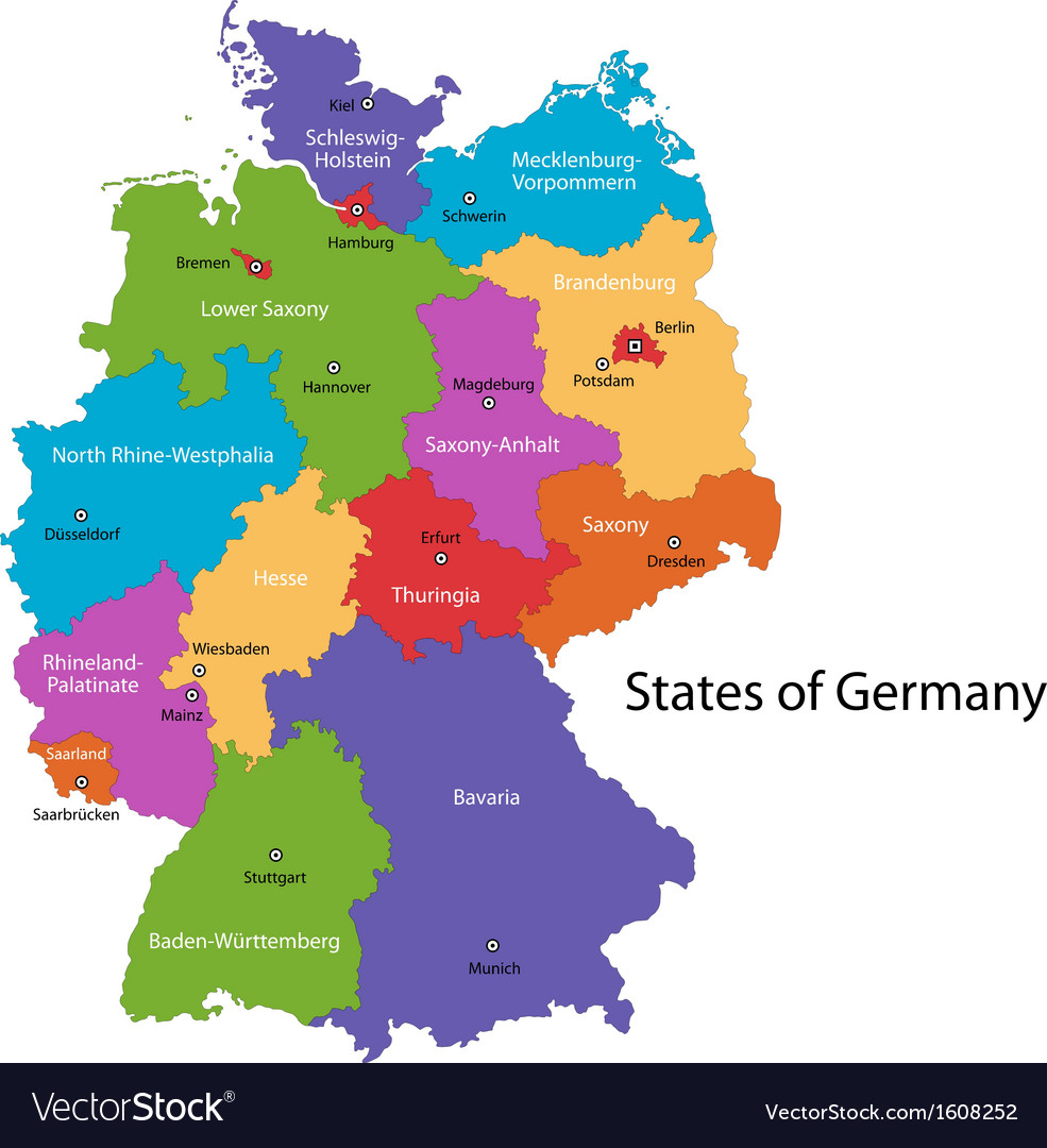 Germany map Royalty Free Vector Image VectorStock
