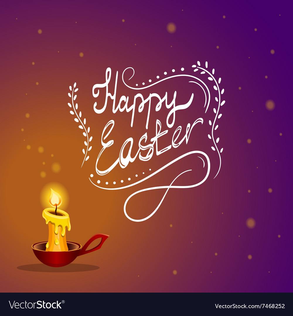 Happy Easter card with burning candle vector image
