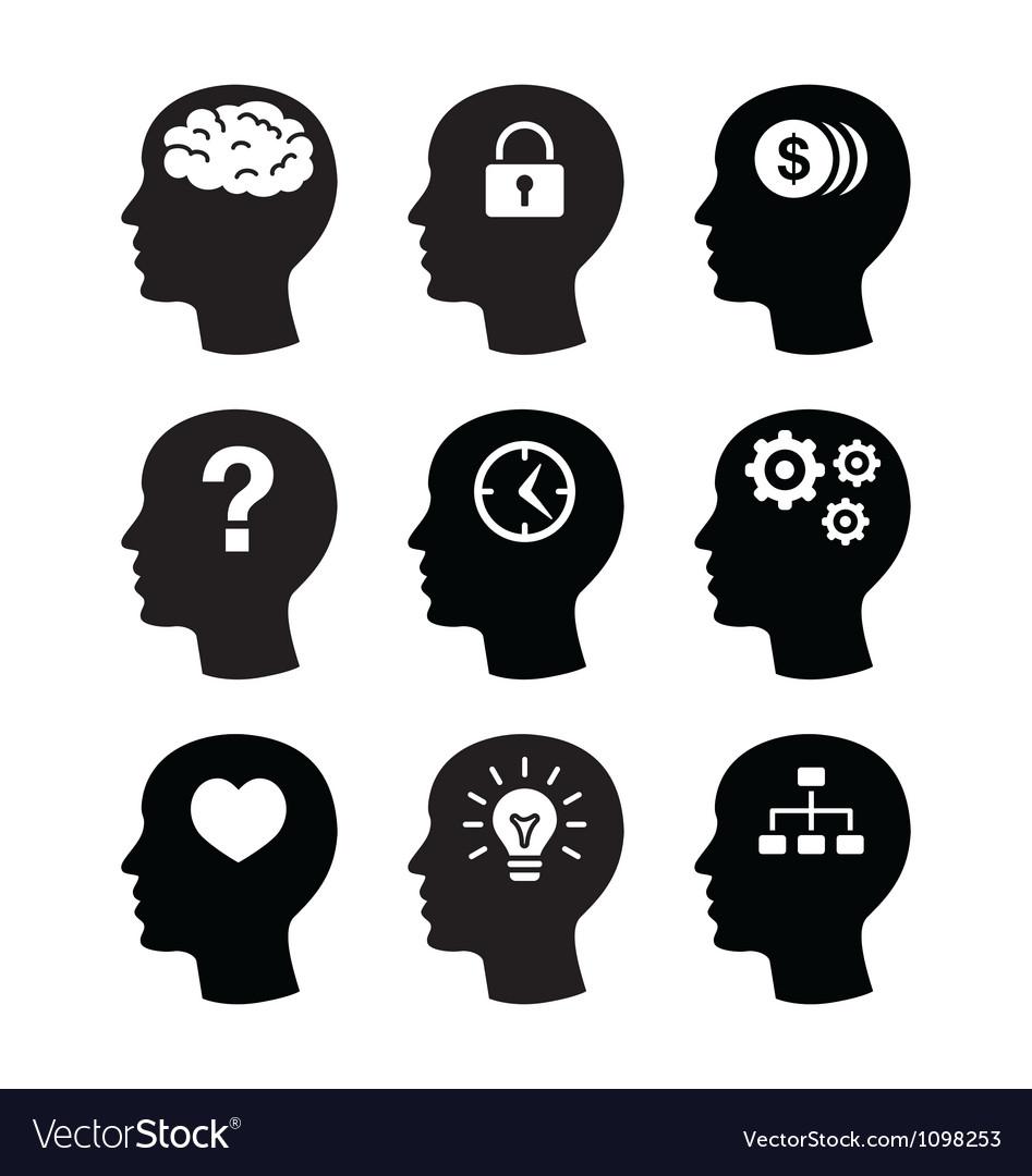 Head brain vecotr icons set vector image