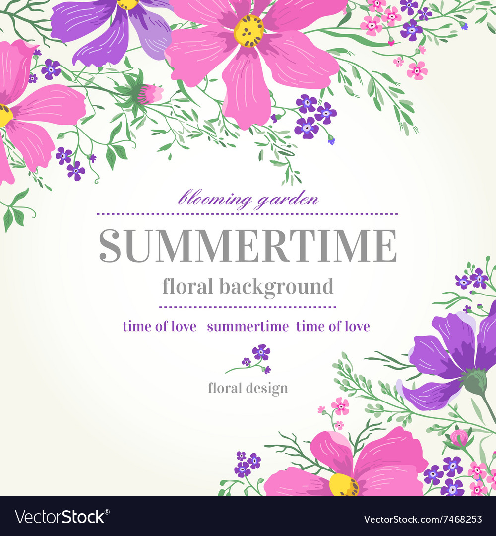 Wedding invitation with pink and purple flowers on