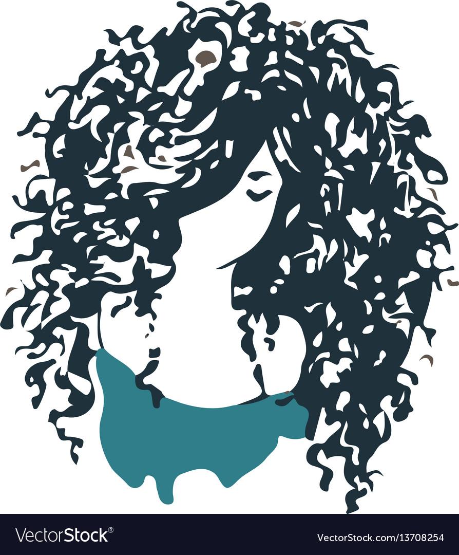 Beautiful curly hair girl logo vector image