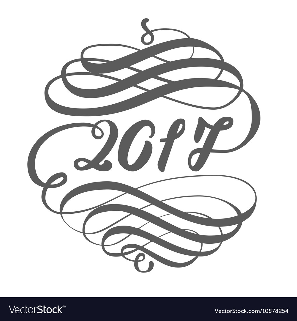 Greeting card design template with calligraphy vector image