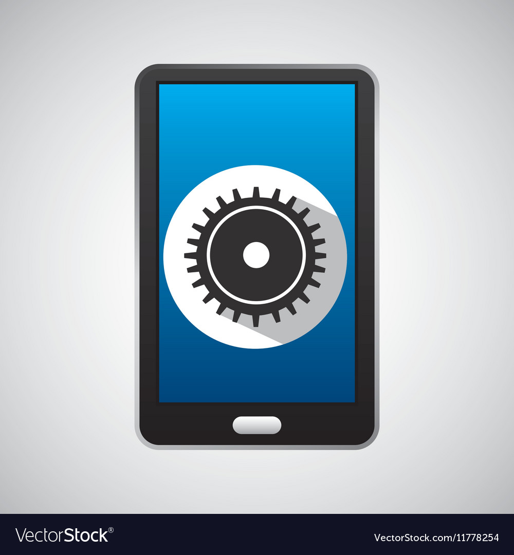 Social media mobile process gear vector image