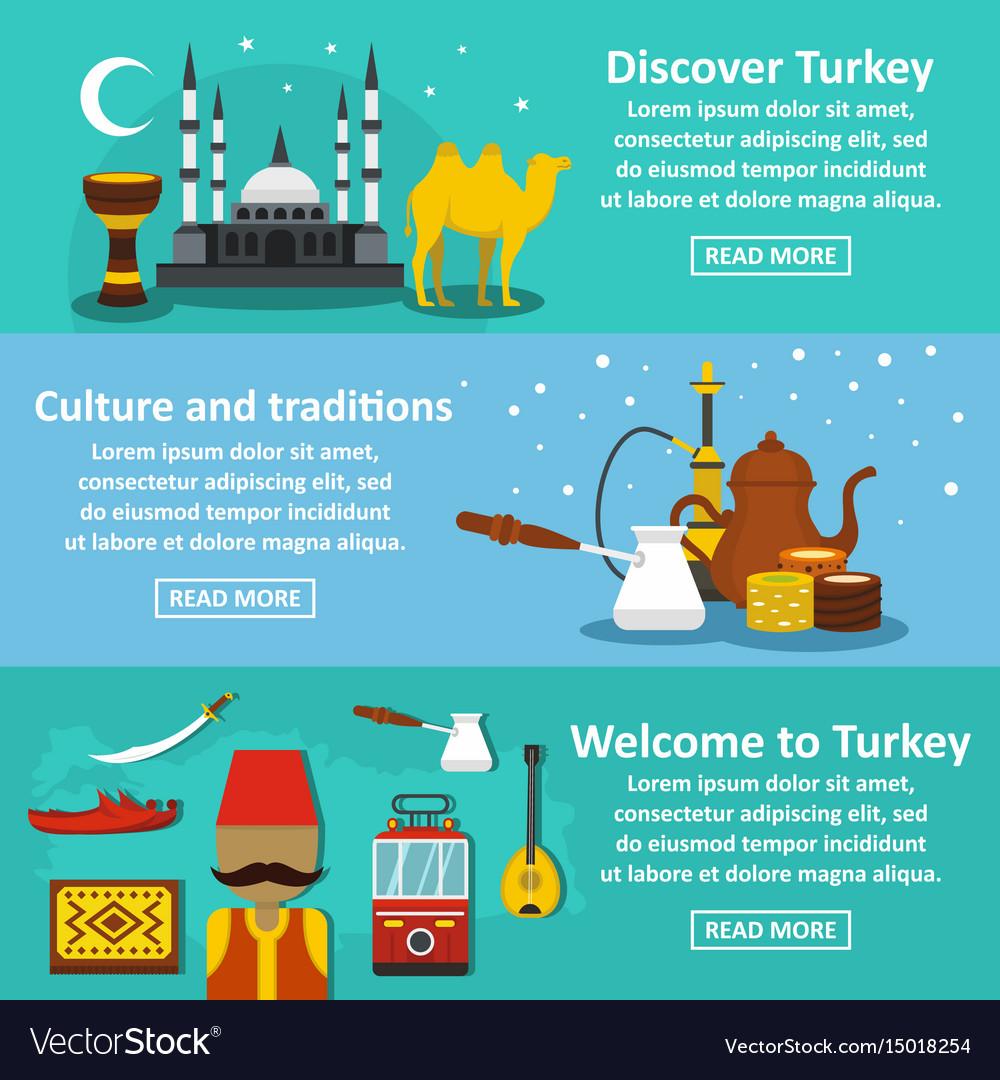 Turkey travel banner horizontal set flat style vector image