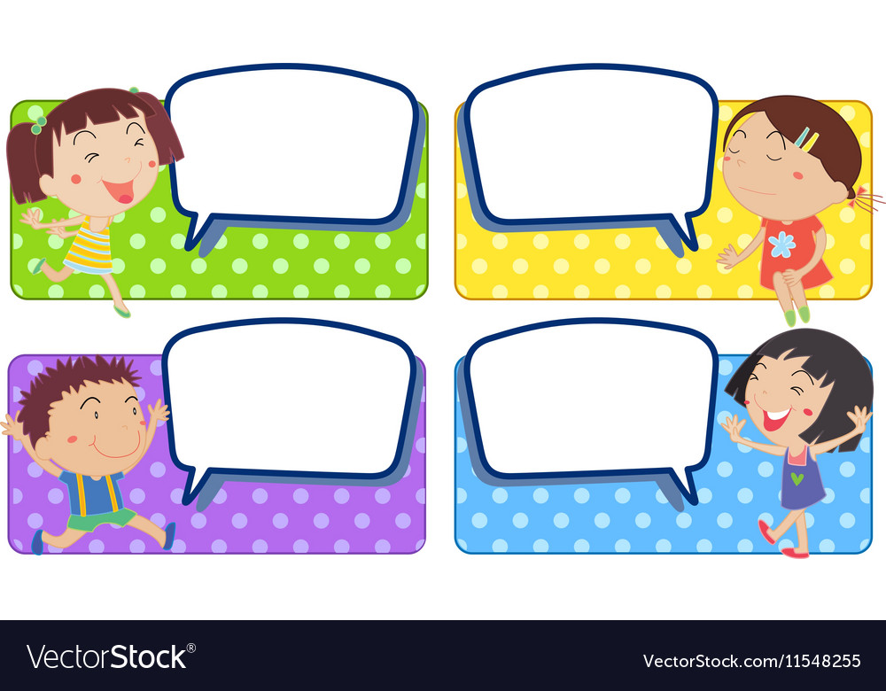 Boy and girl with blank speech bubbles vector image