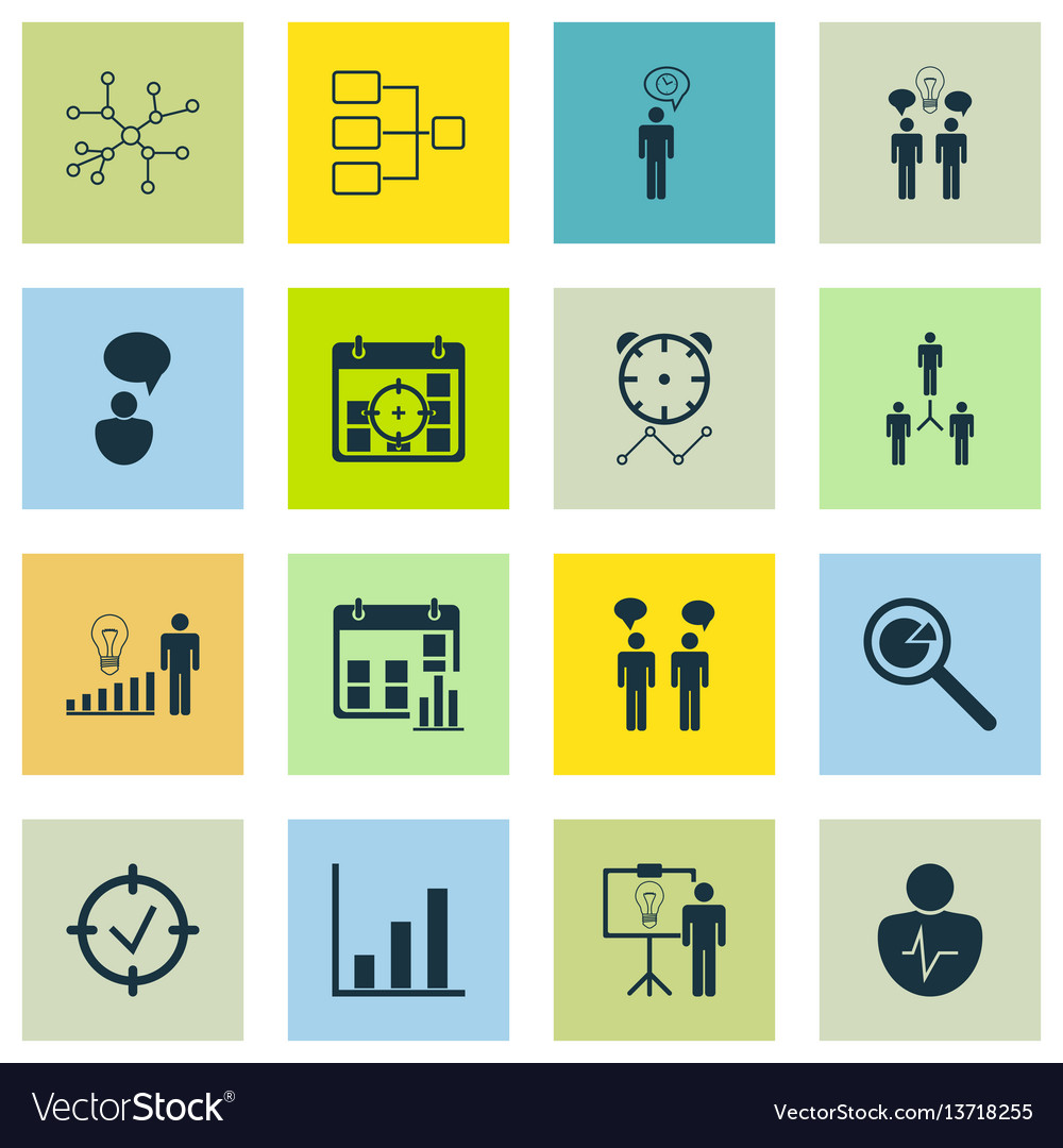 Set of 16 administration icons includes bar chart vector image