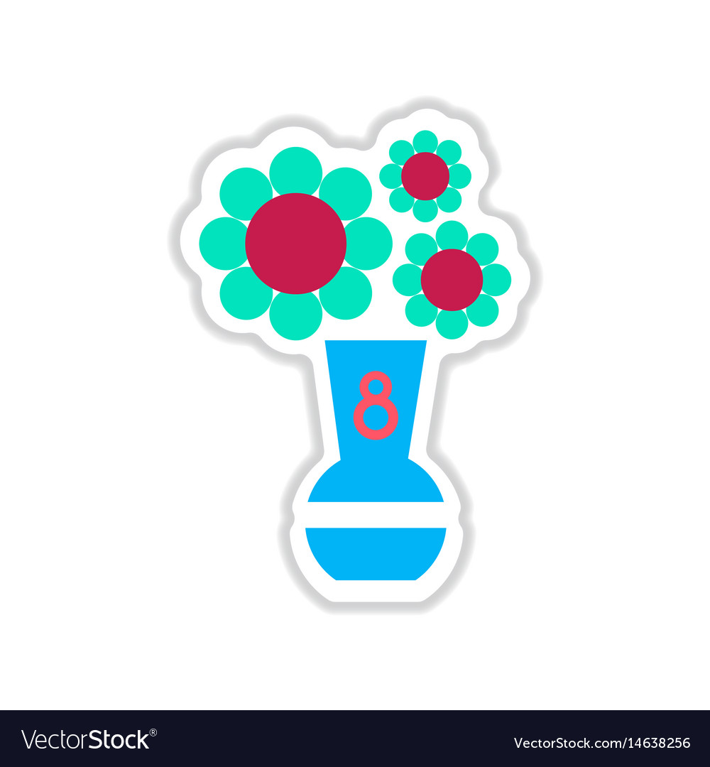 Paper sticker on white background flowers in vase