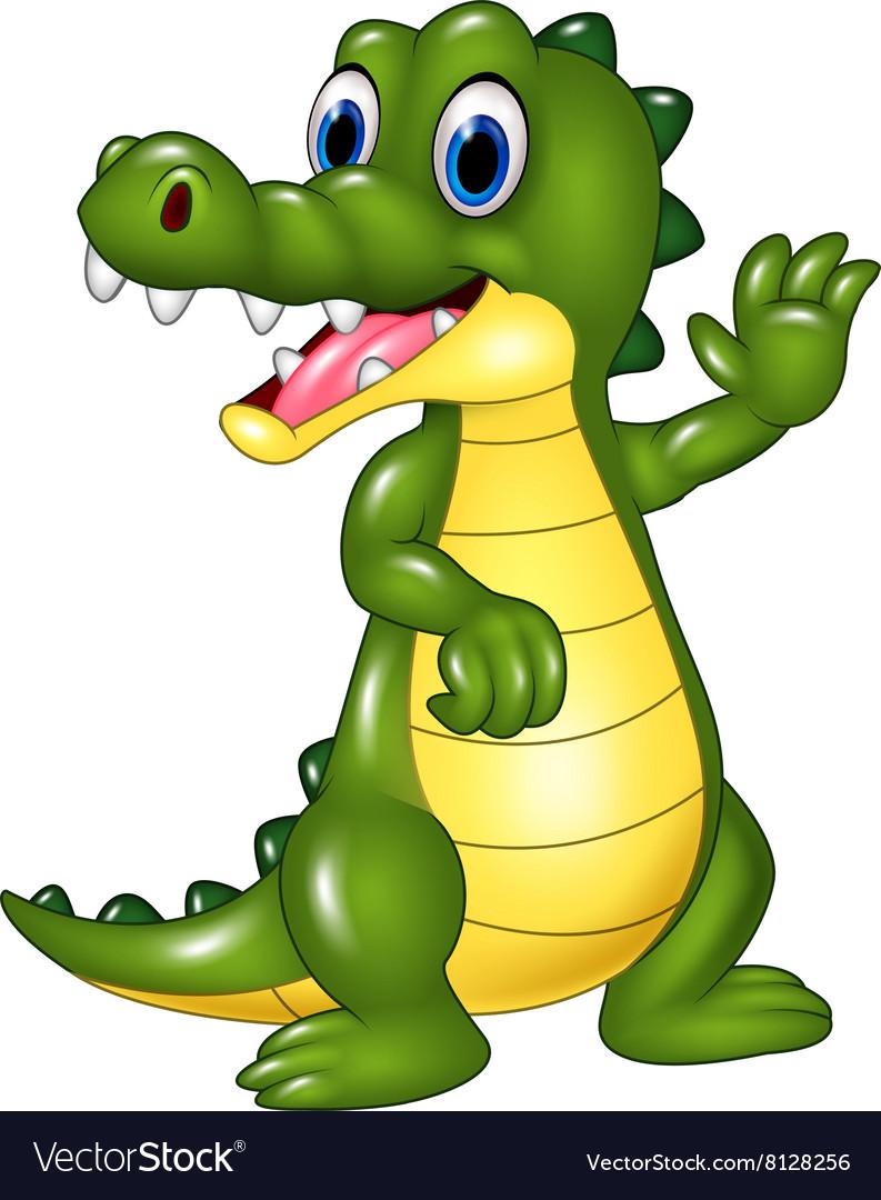 Cartoon funny crocodile waving hand isolated vector image