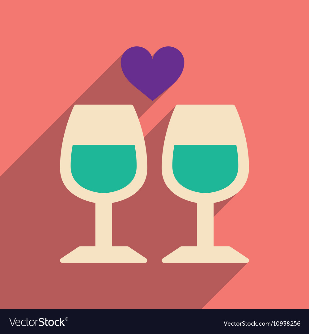 Red wine and glass icon flat style