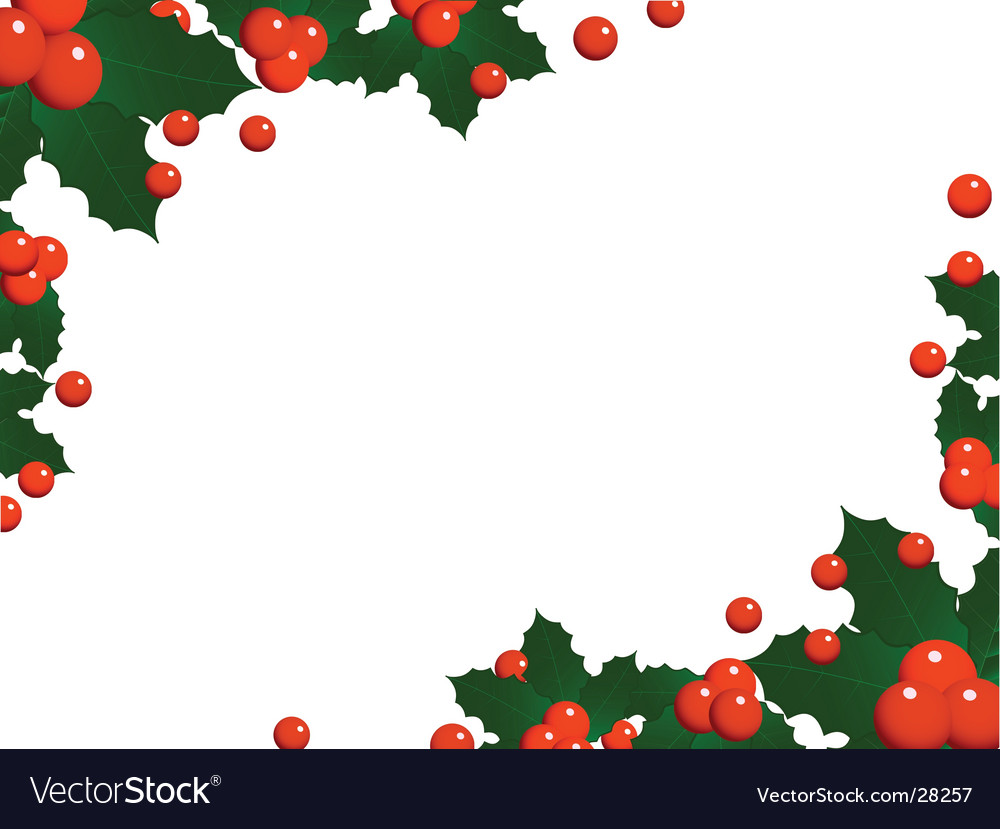 Christmas holly landscape border Royalty Free Vector Image