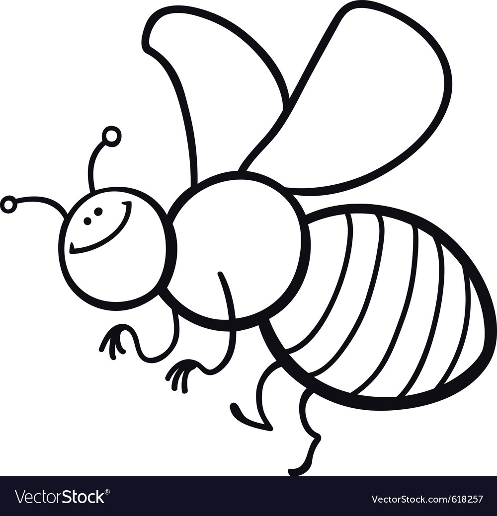 coloring page cartoon of funny bee royalty free vector image