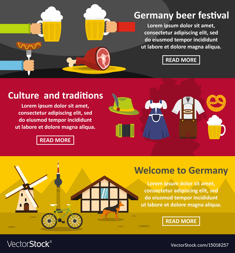 Germany travel banner horizontal set flat style vector image