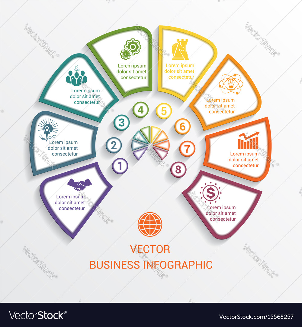 Semicircle infographics template eight positions vector image