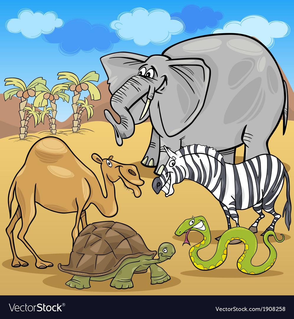 African safari animals cartoon vector image