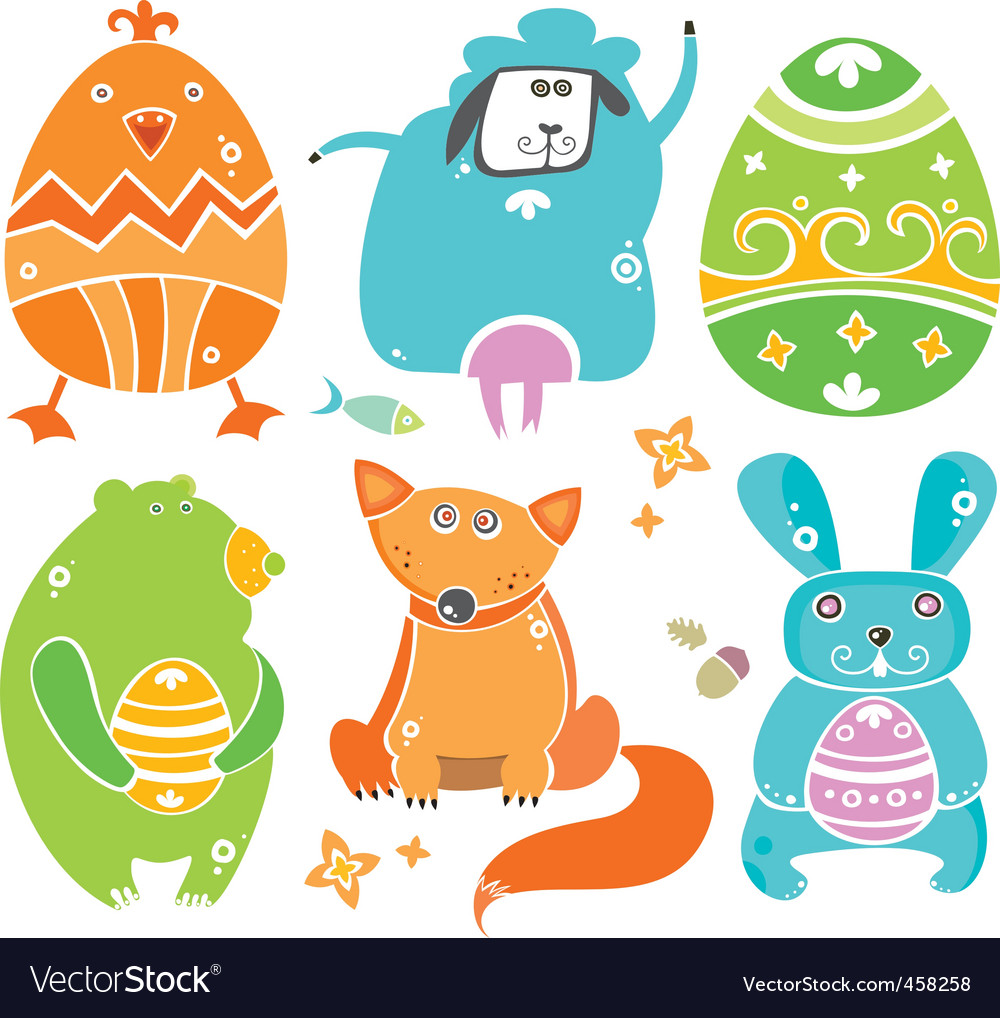 Easter cute set of animals vector image