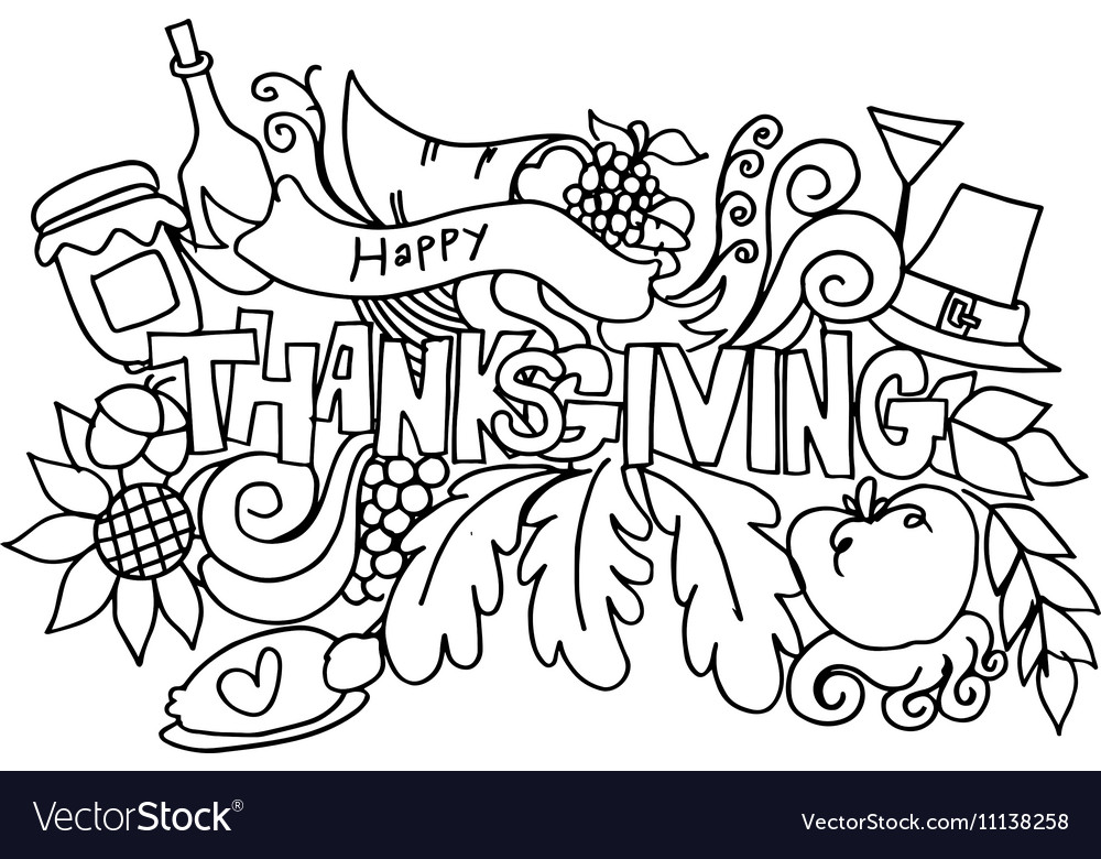 Thanksgiving hand draw doodle art Royalty Free Vector Image