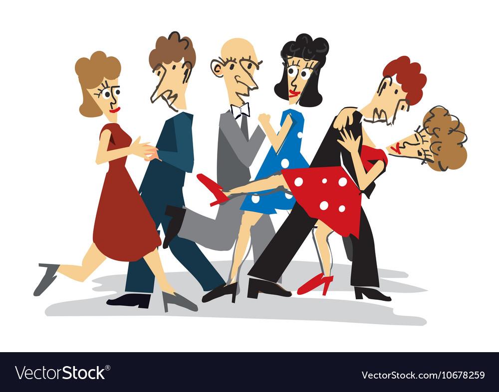 Dancing couples cartoon vector image