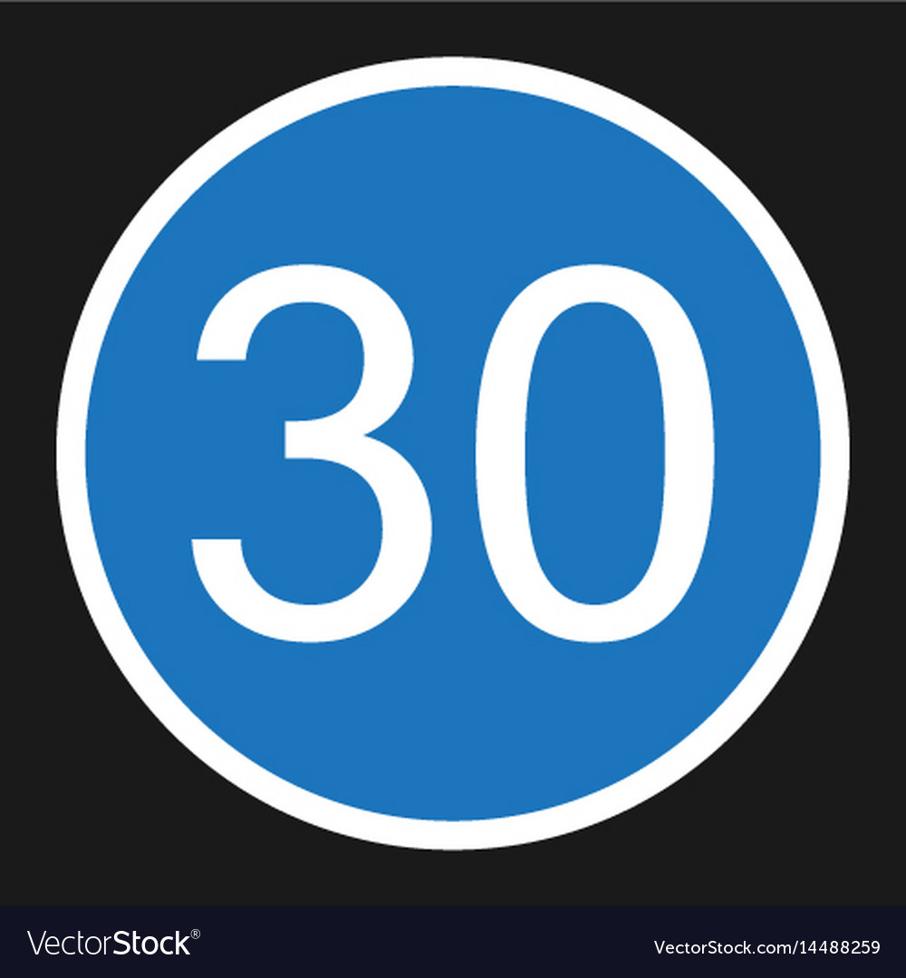 Minimum speed sign 30 flat icon vector image