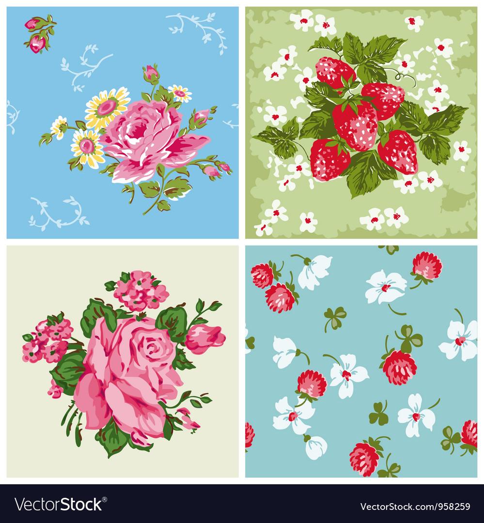 Set of Seamless Vintage Floral backgrounds vector image