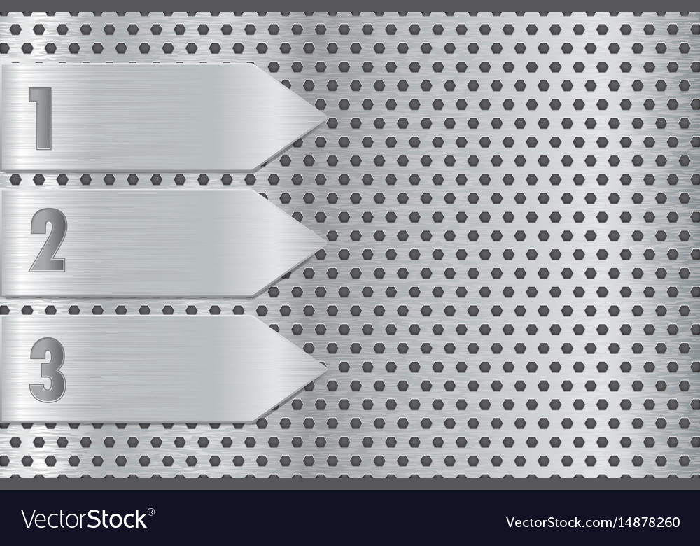 Metal perforated plate with steel arrow steel vector image